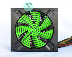 computer power supply fan 230w 12cm green fan black pc power supply customize with i o battery