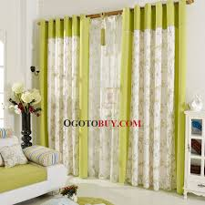 Green Color Curtains Beige And Green Color Block Print Botanical Linen Cotton Blend