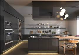 Open Shelves Under Cabinets Kitchen Masculine Block Glossy Nice Kitchen Cabinet Nice Grey
