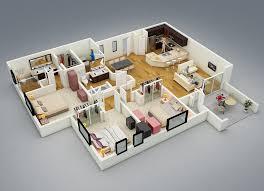 home design three bedroom house floor plans ideas 3d 3 2017
