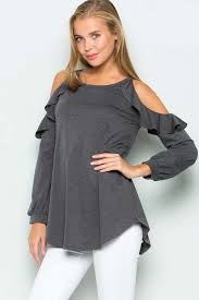 cold shoulder tops gozon s women sleeve terry ruffled cold shoulder top