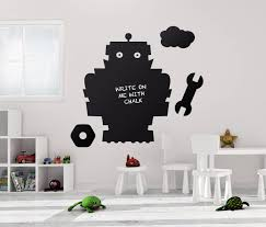 Chalk Board Wall Stickers 100x80cm Chalkboard Robot Blackboard Vinyl Decor Mural Decals Robo