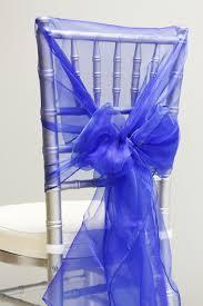 chair ties snow organza chair caps hoods royal blue cv linens