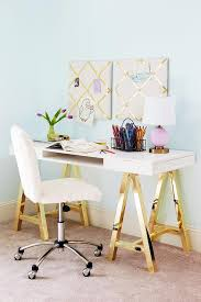 Pink Glass Desk Gold Sawhorse Desk With Sheepskin Task Chair Contemporary