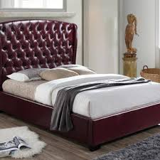 Wine Color Bedroom by Kaitlyn Diamond Tufted High Headboard Bed By Crown Mark