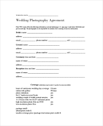 wedding cake exles wedding contract agreement simple photography contract template