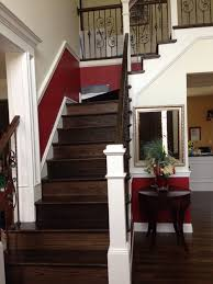 paint color for double story foyer with wood steps