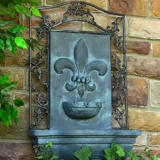 sunnydaze french lily outdoor wall water fountain with electric