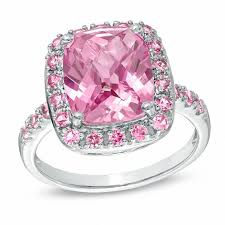 pink sapphires rings images Cushion cut lab created pink sapphire ring in sterling silver jpg