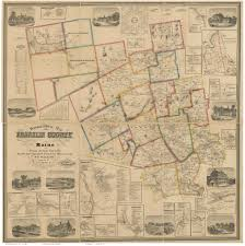 Franklin Maps Map Of Franklin Co Me 1861 Wall Map Print
