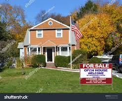 American Flag House American Flag Pole Real Estate Sale Stock Photo 229747390