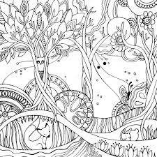 coloring page with forest fox owl rabbit butterfly
