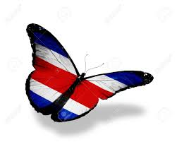 Costarica Flag Costa Rica Flag Butterfly Flying Isolated On White Background