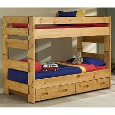 cinnamon rustic pine twin over twin bunk bed with drawers