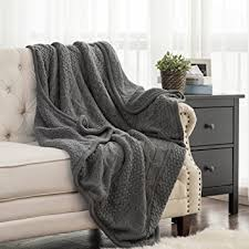 Fleece Throws Blankets Knitted Throw Blanket With Sherpa Grey Reversible