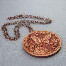 wood pendants necklace images Wood pendant necklace laser cut butterfly leaves copper chain jpg