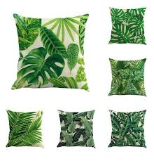 green leaf pillow case cushions cover sofa soft bolster cover