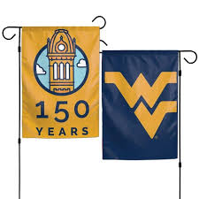 wvu 150 years 2 sided garden flag the book exchange