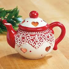 red and white ceramic teapot tealight holder current catalog