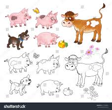 farm baby animals cute calf pigs stock illustration 417282886