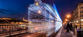30 000 led lights and exposure turn budapest trams into time