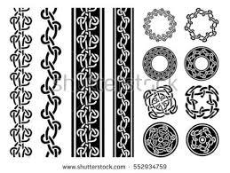 celtic patterns ornaments set illustration set black stock vector