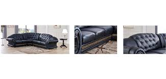 Black Leather Sectional Sofas Versace Classic Style Sectional Sofa In Black Leather