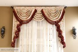 Burgundy Curtains For Living Room Flip Pole Swag Valance Curtains Traditional Living Room Regarding