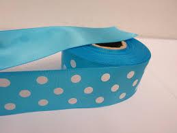 satin ribbon turquoise blue white polka dot spotty satin ribbon 2 or 20