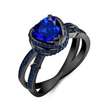 blue promise rings images Vancaro black engagement ring with blue sapphire in split shank design jpg