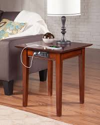 end table with usb port shaker end table with charger walnut