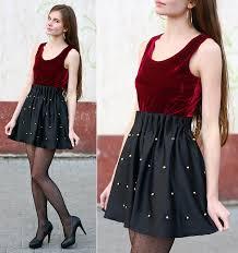 ariadna majewska romwe velvet burgundy dress black studded