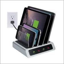 vision elite 4 port usb visual charge charging station silver