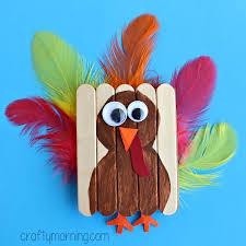mini popsicle stick turkey craft crafty morning