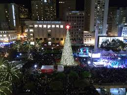 christmas tree lighting at union square in san francisco christmas