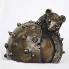 mouse on conker cold cast bronze sculpture ornament paperweight