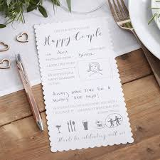 white printed advice cards for the and groom by