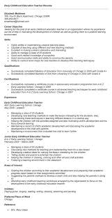 Creative Teacher Resume Templates Early Childhood Education Resume Best Resume Collection