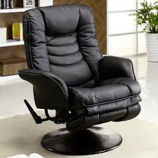 Black Leather Recliner Coaster Faux Leather Recliners Casual Swivel Recliner Chair In