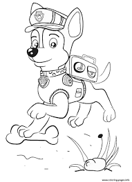 paw patrol chase jumping coloring pages printable