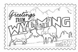 wyoming stamp coloring page classbrain u0027s state reports