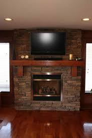corner decor fetching stacked astounding rustic stone fireplace