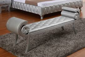 silver color modern tufted leather bench for bedroom with floating