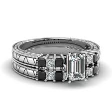 Black Diamond Wedding Ring Sets by Get Latest Designs Of Emerald Cut Wedding Ring Set Fascinating