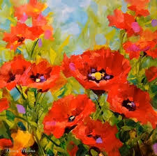 nancy medina art surrounded red poppy painting by texas flower