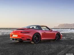 2018 porsche 911 targa 4 gts color lava orange rear three