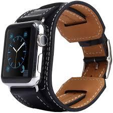 black leather strap bracelet images Kakapi genuine leather cuff bracelet apple watch 42mm black jpg