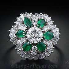 diamond cocktail rings 1 05 carat center diamond emerald and diamond cocktail ring