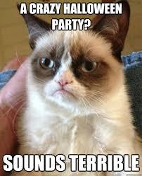 Halloween Party Meme - a crazy halloween party sounds terrible grumpy cat quickmeme