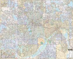 Map Of St Paul Mn Minneapolis U0026 St Paul Mn Wall Map U2013 Kappa Map Group